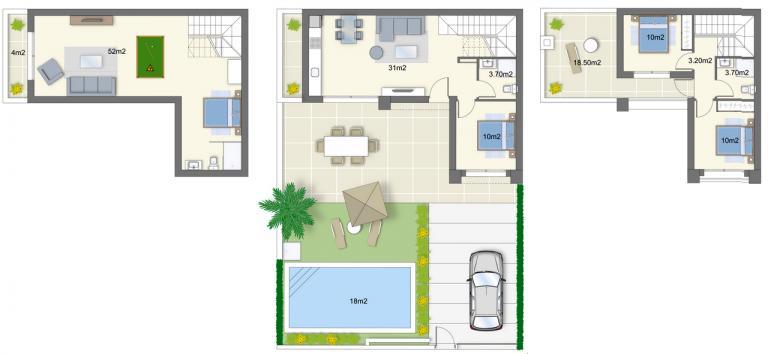 Neue Villa mit 3 Schlafzimmern im mediterranen Stil Nieuwbouw Costa Blanca